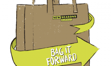 """A grocery bag cartoon with the New Seasons logo, and a green arrow that reads """"Bag it Forward"""" on the side"""