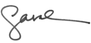 """Sarah's signature, with a large Cursive """"S"""" connected to the """"arah"""""""
