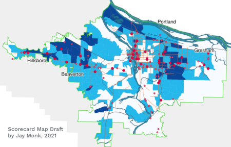 Portland Metro region Colored Map